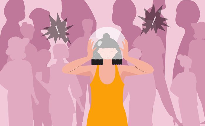 illustration of woman in crowd putting glass bubble over her head - social anxiety disorder