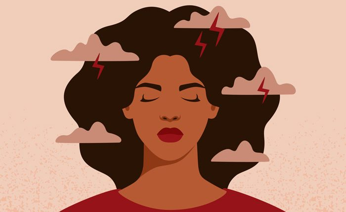 illustration of Black woman with her eyes closed and storm clouds around her head - bipolar disorder